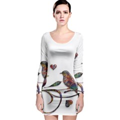 Birds Abstract Exotic Colorful Long Sleeve Bodycon Dress by Nexatart
