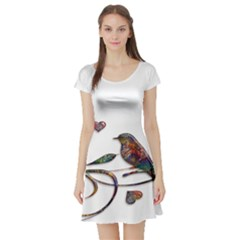 Birds Abstract Exotic Colorful Short Sleeve Skater Dress by Nexatart