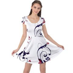 Scroll Border Swirls Abstract Cap Sleeve Dresses
