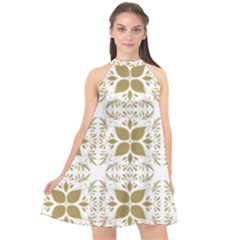Pattern Gold Floral Texture Design Halter Neckline Chiffon Dress  by Nexatart
