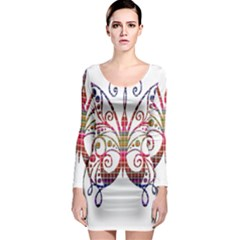 Butterfly Nature Abstract Beautiful Long Sleeve Bodycon Dress by Nexatart