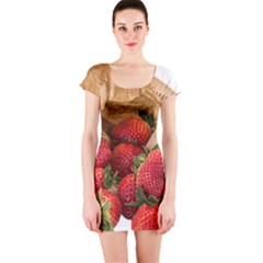 Strawberries Fruit Food Delicious Short Sleeve Bodycon Dress