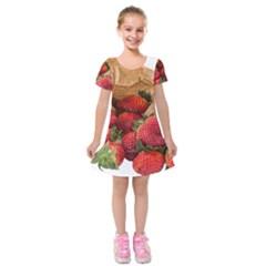 Strawberries Fruit Food Delicious Kids  Short Sleeve Velvet Dress by Nexatart