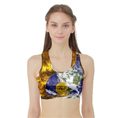 Design Yin Yang Balance Sun Earth Sports Bra With Border by Nexatart
