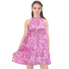Pink Romantic Flower Pattern Denim Halter Neckline Chiffon Dress  by Ivana