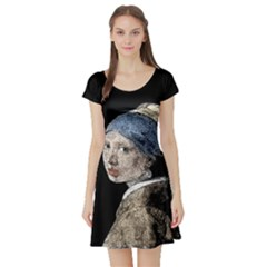 The Girl With The Pearl Earring Short Sleeve Skater Dress by Valentinaart