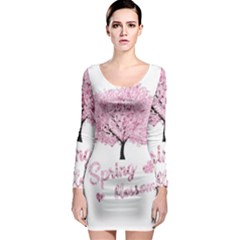 Spring Blossom  Long Sleeve Bodycon Dress by Valentinaart