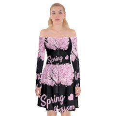 Spring Blossom  Off Shoulder Skater Dress by Valentinaart