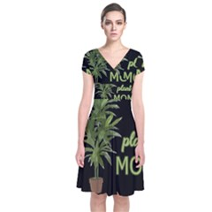 Plant Mom Short Sleeve Front Wrap Dress by Valentinaart