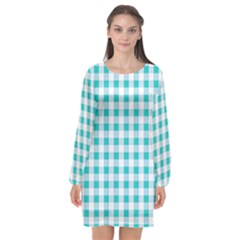 Plaid Pattern Long Sleeve Chiffon Shift Dress  by ValentinaDesign