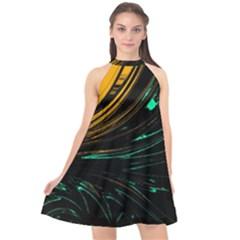 Colors Halter Neckline Chiffon Dress  by ValentinaDesign