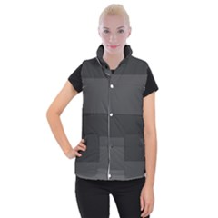 Gray And Black Thick Stripes Women s Button Up Puffer Vest