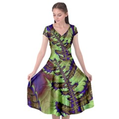 Freaky Friday, Blue Green Cap Sleeve Wrap Front Dress by Fractalworld