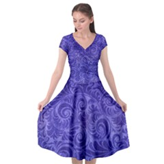 Vibrant Blue Romantic Flower Pattern Cap Sleeve Wrap Front Dress by Ivana