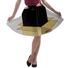 Black Cat In A Box A Line Skater Skirt by Catifornia