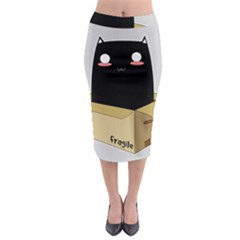 Black Cat In A Box Midi Pencil Skirt by Catifornia