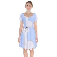 Grumpy Persian Cat Llama Short Sleeve Bardot Dress by Catifornia