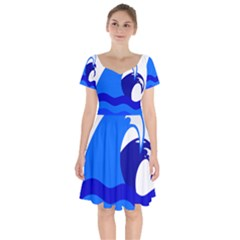 Blue Beach Sea Wave Waves Chevron Water Short Sleeve Bardot Dress by Mariart