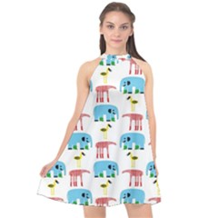 Animals Elephants Giraffes Bird Cranes Swan Halter Neckline Chiffon Dress