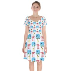 Animals Elephants Giraffes Bird Cranes Swan Short Sleeve Bardot Dress by Mariart
