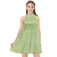 Blender Greenery Leaf Green Halter Neckline Chiffon Dress
