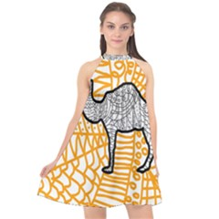 Animals Camel Animals Deserts Yellow Halter Neckline Chiffon Dress  by Mariart
