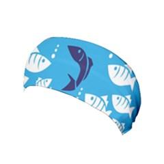 Blue Fish Tuna Sea Beach Swim White Predator Water Yoga Headband by Mariart