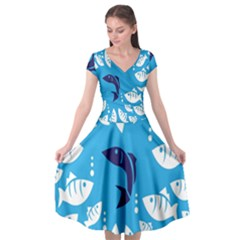 Blue Fish Tuna Sea Beach Swim White Predator Water Cap Sleeve Wrap Front Dress by Mariart
