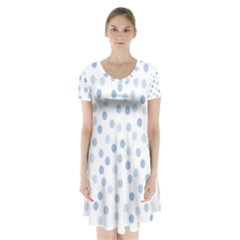 Bubble Balloon Circle Polka Blue Short Sleeve V Neck Flare Dress by Mariart