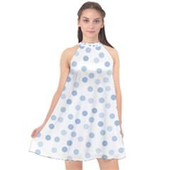 Bubble Balloon Circle Polka Blue Halter Neckline Chiffon Dress  by Mariart