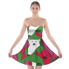 Animals White Bear Flower Floral Red Green Strapless Bra Top Dress by Mariart