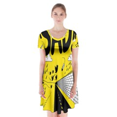 Have Meant  Tech Science Future Sad Yellow Street Short Sleeve V Neck Flare Dress by Mariart