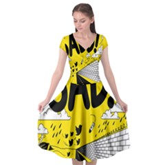 Have Meant  Tech Science Future Sad Yellow Street Cap Sleeve Wrap Front Dress by Mariart