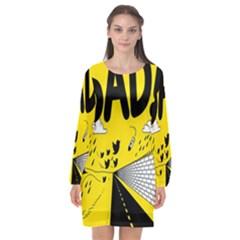 Have Meant  Tech Science Future Sad Yellow Street Long Sleeve Chiffon Shift Dress