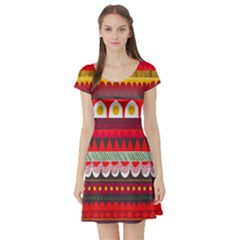 Fabric Aztec Red Line Polka Circle Wave Chevron Star Short Sleeve Skater Dress by Mariart