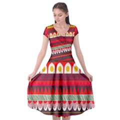 Fabric Aztec Red Line Polka Circle Wave Chevron Star Cap Sleeve Wrap Front Dress by Mariart