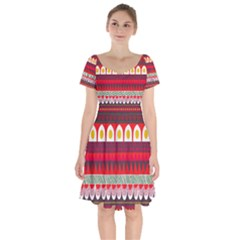 Fabric Aztec Red Line Polka Circle Wave Chevron Star Short Sleeve Bardot Dress by Mariart
