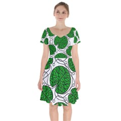 Leaf Green Short Sleeve Bardot Dress by Mariart