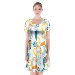 Pebbles Texture Mid Century Short Sleeve V Neck Flare Dress by Mariart