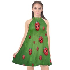 Ladybugs Red Leaf Green Polka Animals Insect Halter Neckline Chiffon Dress  by Mariart