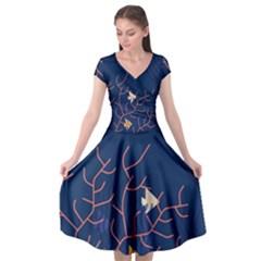 Sea Ocean Beach Swim Fish Wave Waves Chevron Blue Water Cap Sleeve Wrap Front Dress by Mariart