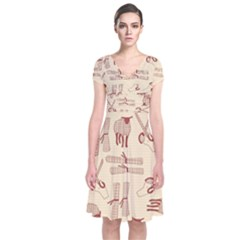 Sheep Goats Paper Scissors Short Sleeve Front Wrap Dress by Mariart