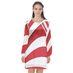 American Flag Star Blue Line Red White Long Sleeve Chiffon Shift Dress