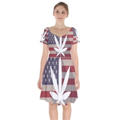 Flag American Star Blue Line White Red Marijuana Leaf Short Sleeve Bardot Dress by Mariart