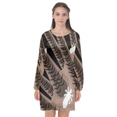 Head Lice Killer Hair Long Sleeve Chiffon Shift Dress