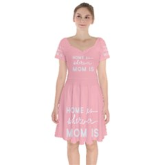 Home Love Mom Sexy Pink Short Sleeve Bardot Dress