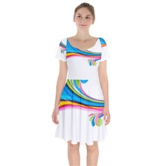 Colored Lines Rainbow Short Sleeve Bardot Dress