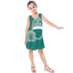 Laughs Funny Photo Contest Smile Face Mask Kids  Sleeveless Dress by Mariart