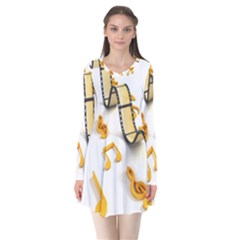 Isolated Three Dimensional Negative Roll Musical Notes Movie Flare Dress by Mariart