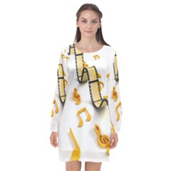 Isolated Three Dimensional Negative Roll Musical Notes Movie Long Sleeve Chiffon Shift Dress
